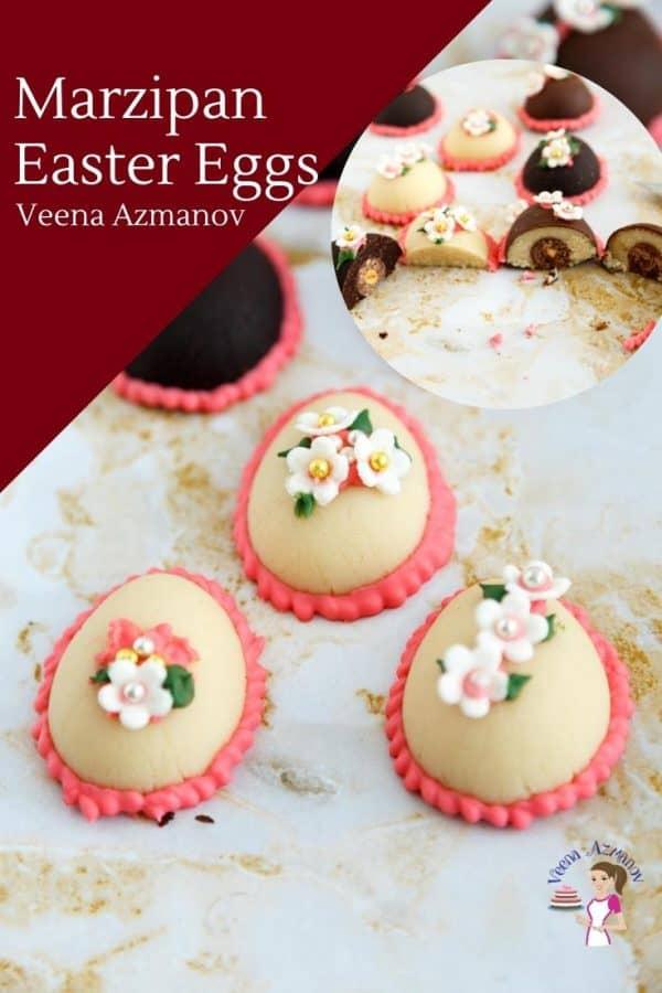 Marzipan Ester eggs on a table.