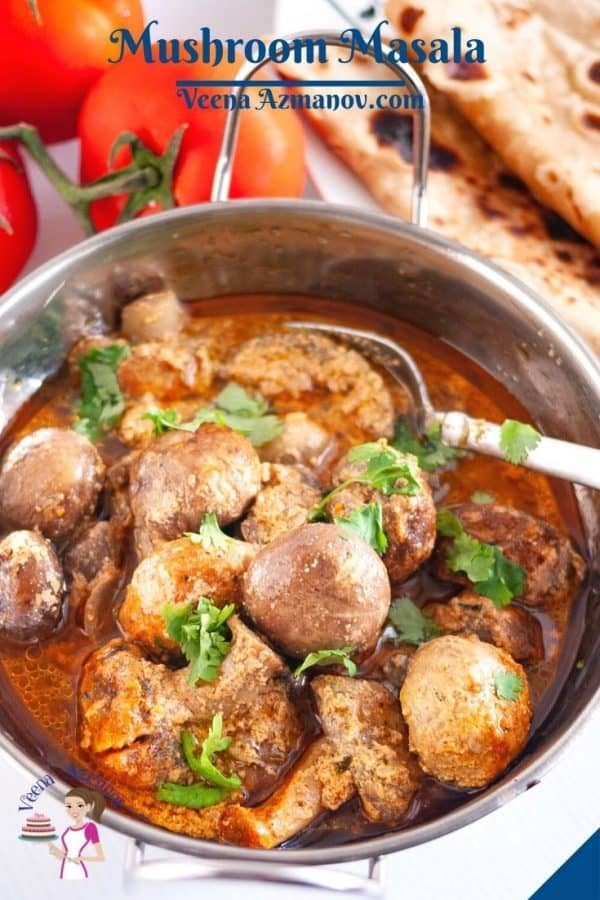 Pinterest image for Indian Mushrooms curry.