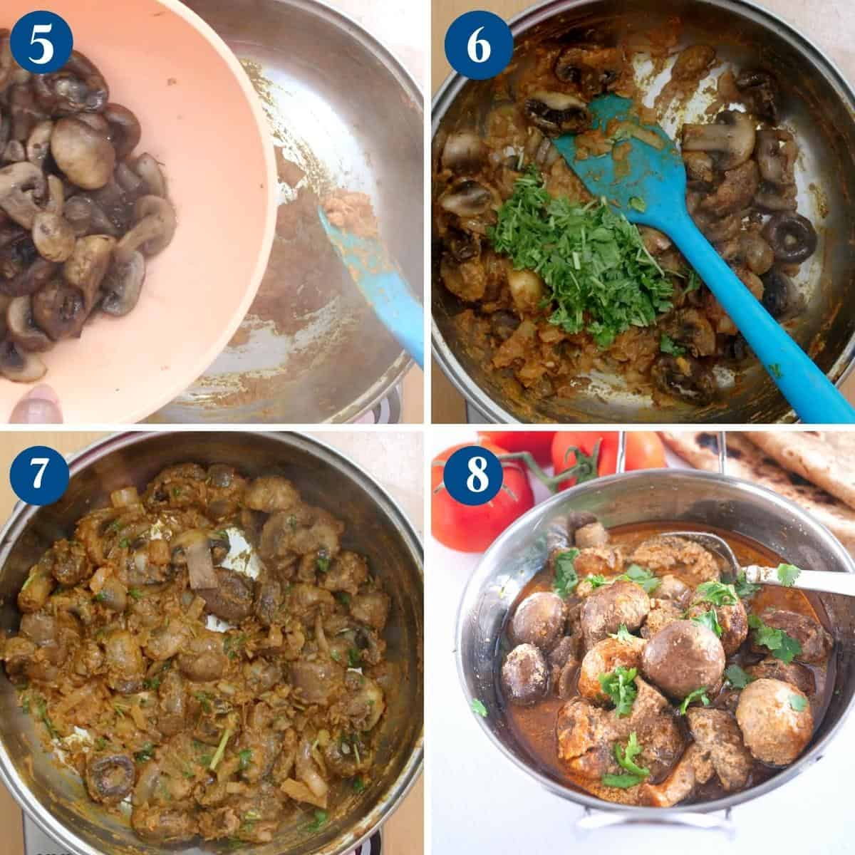 Progress pictures collage making mushrooms in Indian spices.