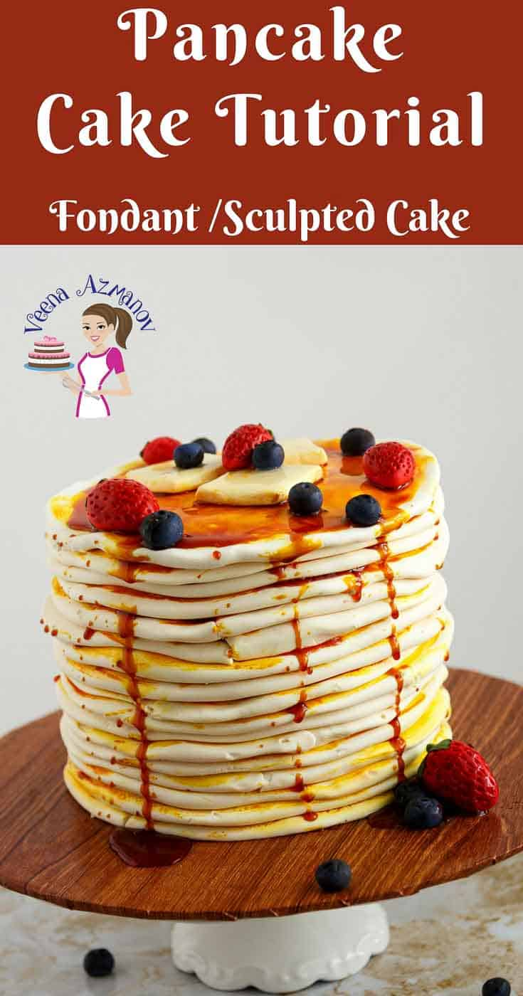 A Pinterest Optimized Image for this Pancake Cake Tutorial. This fondant food cake made with sugar paste butter, strawberries and blueberries.