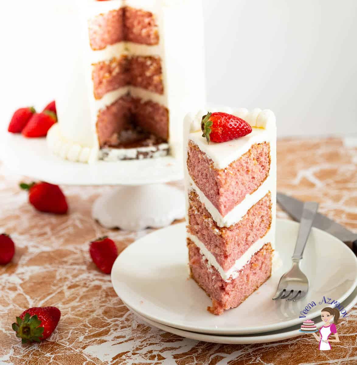 A sliced strawberry cake