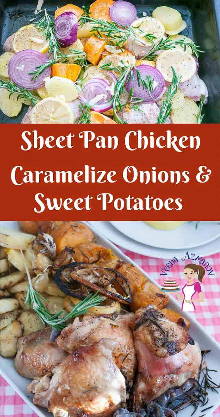 A Pinterest Optimized Image for sheet pan chicken with caramelized onions and sweet potatoes a complete one pot meal.