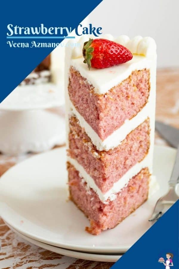 Strawberry cake image for Pinterest