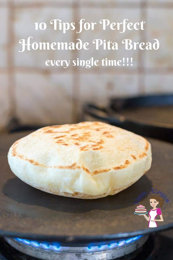 A Pinterest optimized image for 10 tips for perfect homemade pita bread every single time. A shot of the puffed up pita on a hot skillet