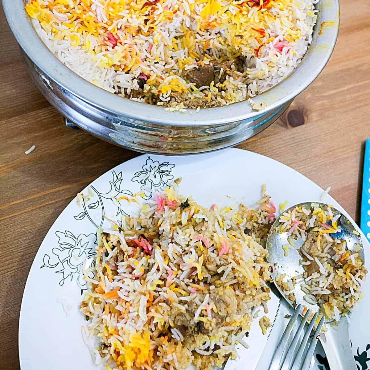 A plate with biryani.