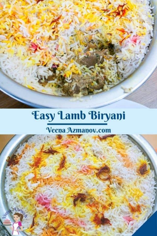 Pinterest image for biryani with lamb,