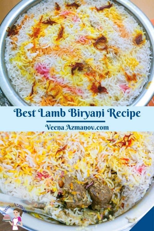 Pinterest image for biryani with lamb.