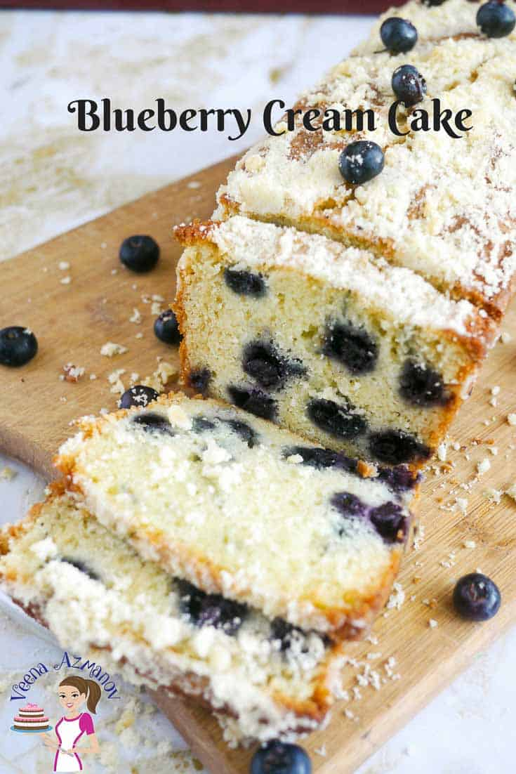 A Pinterest optimized image for Blueberry Cream Cake with Crumb Topping made with cream cheese and fresh blueberries