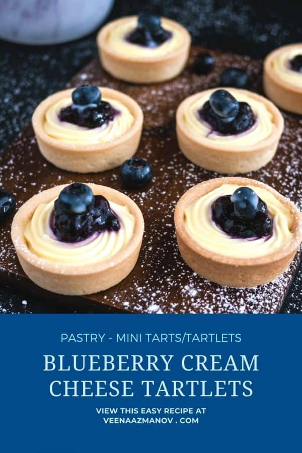 Pinterest image for cream cheese blueberry tartlets.