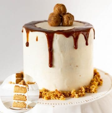 A butterscotch cake on a cake stand.