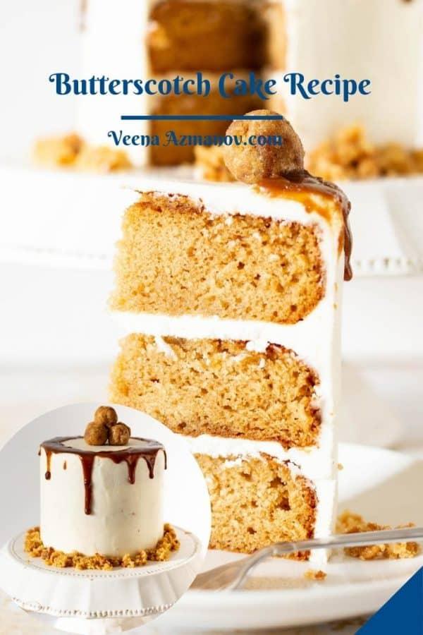 Pinterest image butterscotch cake.