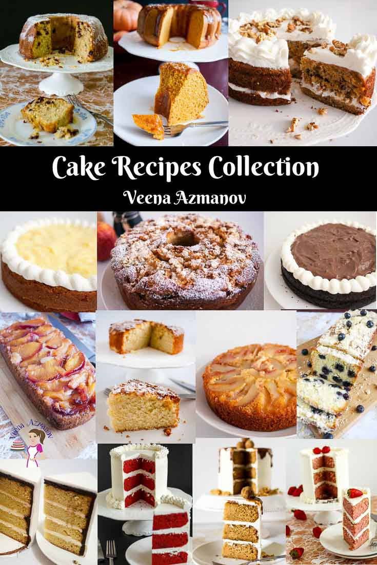 A collection of cake recipes by Veena Azmanov - red velvet cake, strawberry cake, plum cake, eggless vanilla cake, carrot cake, pumpkin cake, cranberry cake, apple cake, butterscotch cake, caramel cake and more