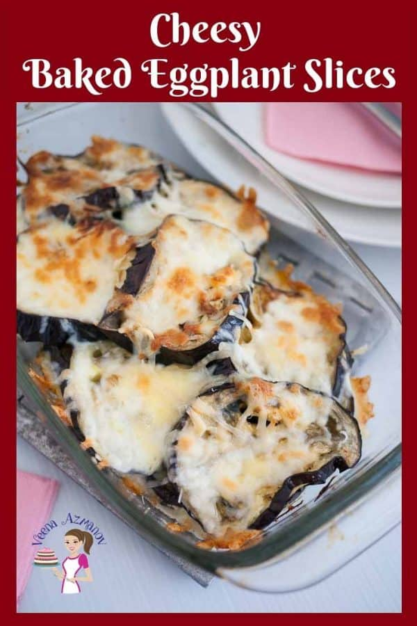 A dish of baked eggplant with Parmesan cheese.