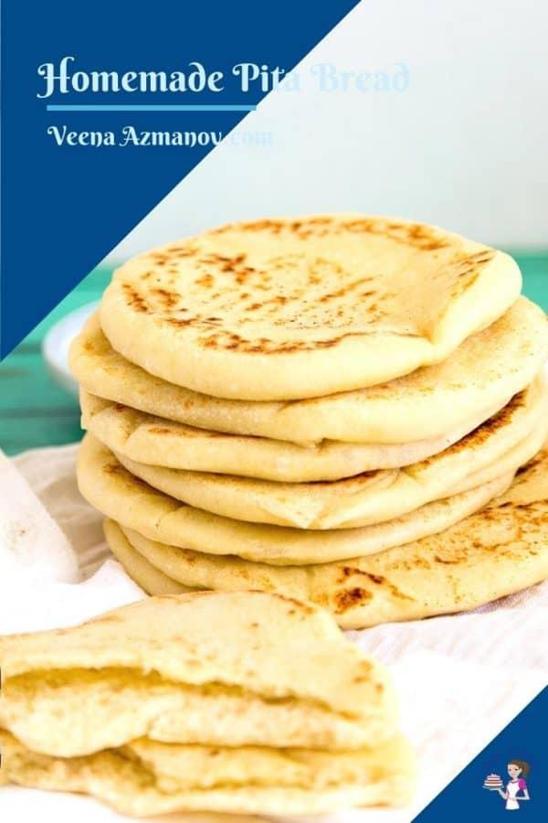 Pinterest image for pita bread.