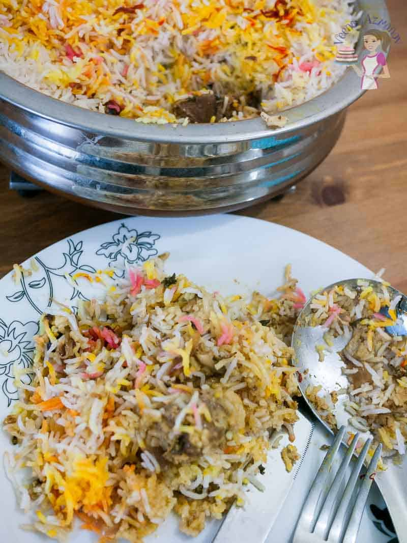 A served plate with lamb biryani - made with lamb shoulder and cooked in Indian spices, gosht biryani