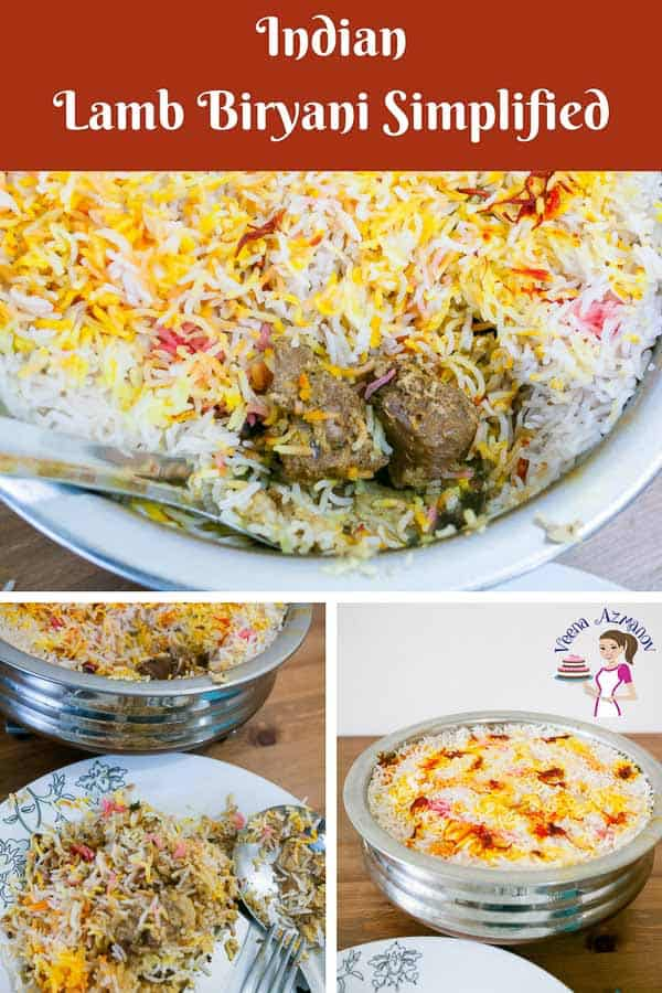 A Pinterest Optimized image for Lamb Biryani Simplified - Layered lamb with rice, ghee and saffron made Hyderabad Dum Style