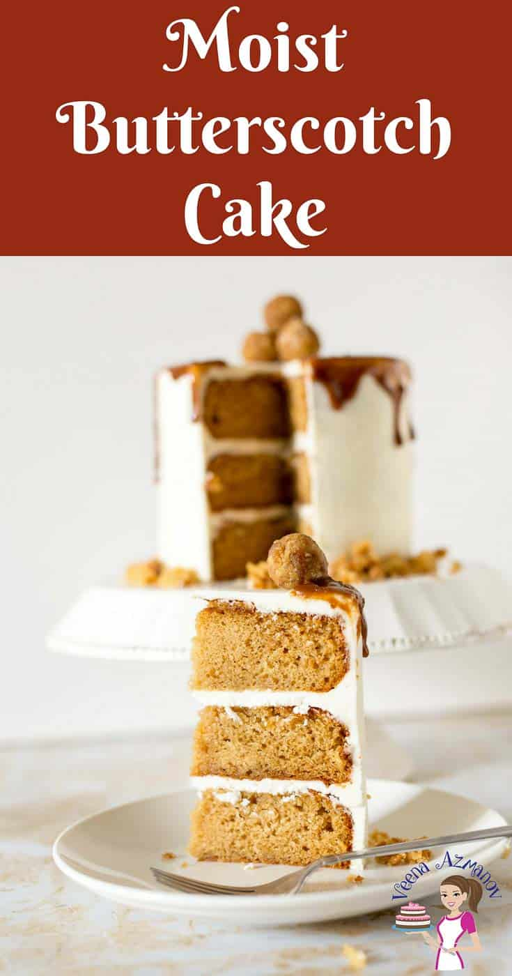 A Pinterest optimized image for the best Butterscotch Cake Recipe frosted with Butterscotch Swiss Meringue Buttercream and Butterscotch sauce.