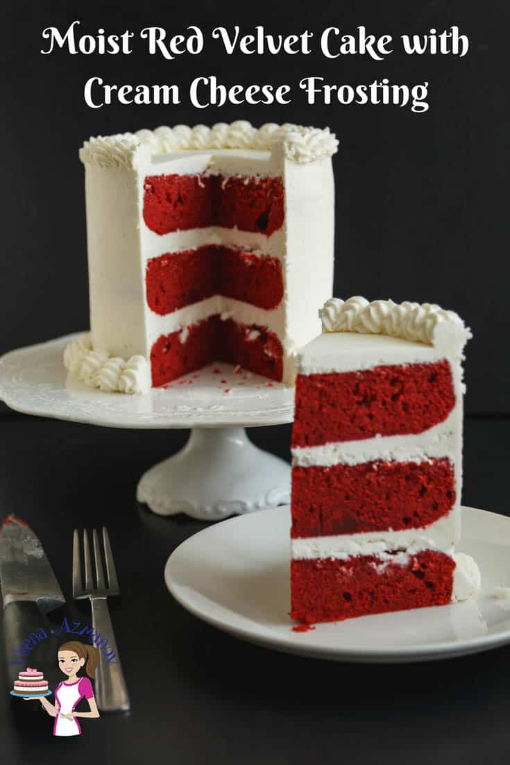 A Pinterest Optimized image for a classic Red Velvet Cake with Cream Cheese Frosting, showcasing three gorgeous layers of red velvet cake