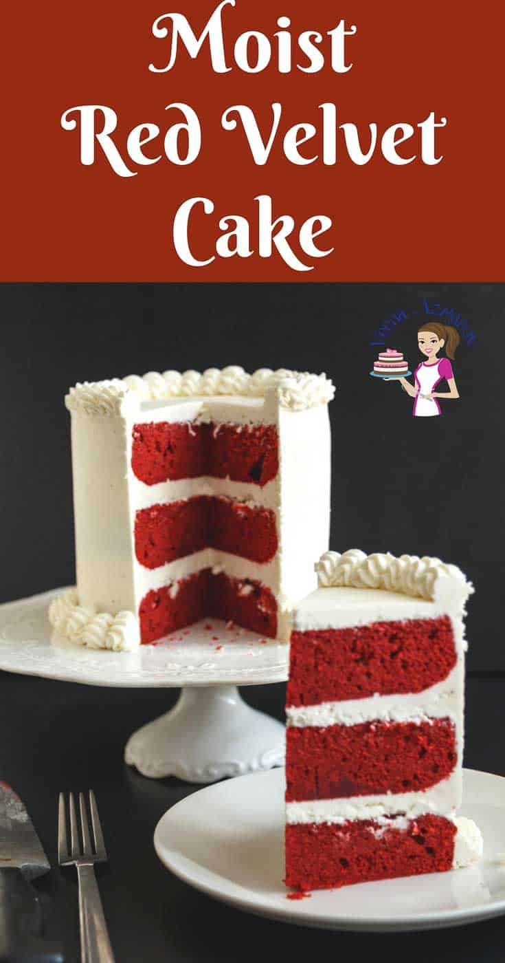 A Pinterest Optimized Image for a Classic Red Velvet cake with Cream cheese frosting. Simple easy and effortless recipe