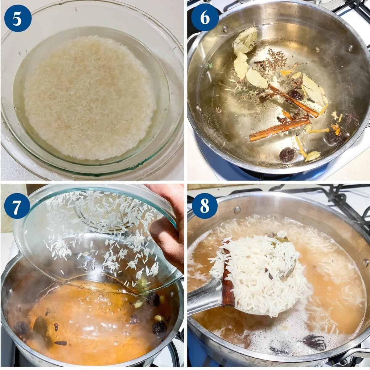 Progress pictures cooking rice for biryani.