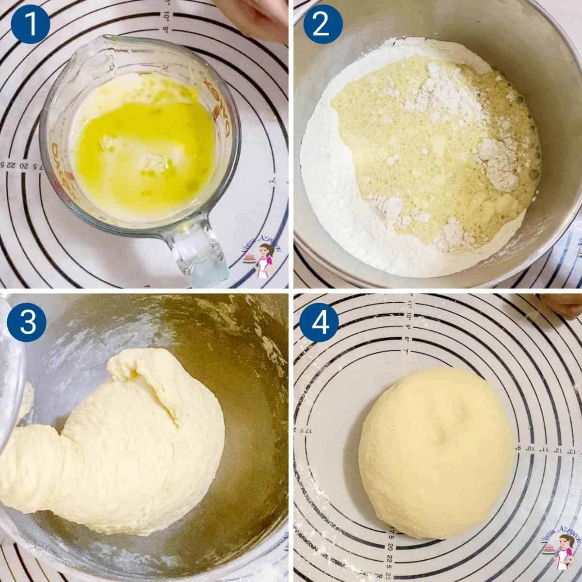 Progress pictures collage for making Pullman bread dough