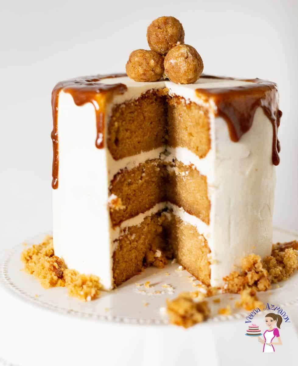 Homemade layer cake recipe with butterscotch flavor, SMBC and Butterscotch sauce drip