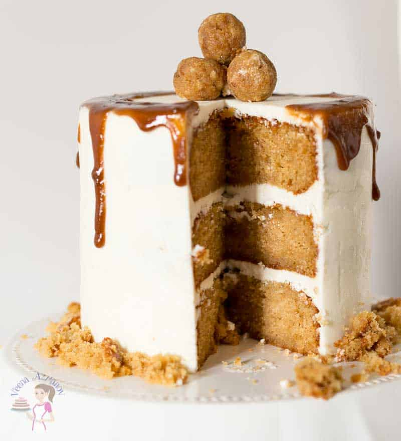 A close look at the texture for this butterscotch cake that light and airy. Soft moist cake topped with butterscotch cake pops.
