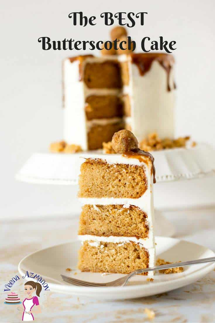A Pinterest Optimized image for the BEST Butterscotch Cake Recipe frosted with Swiss Meringue buttercream and butterscotch sauce