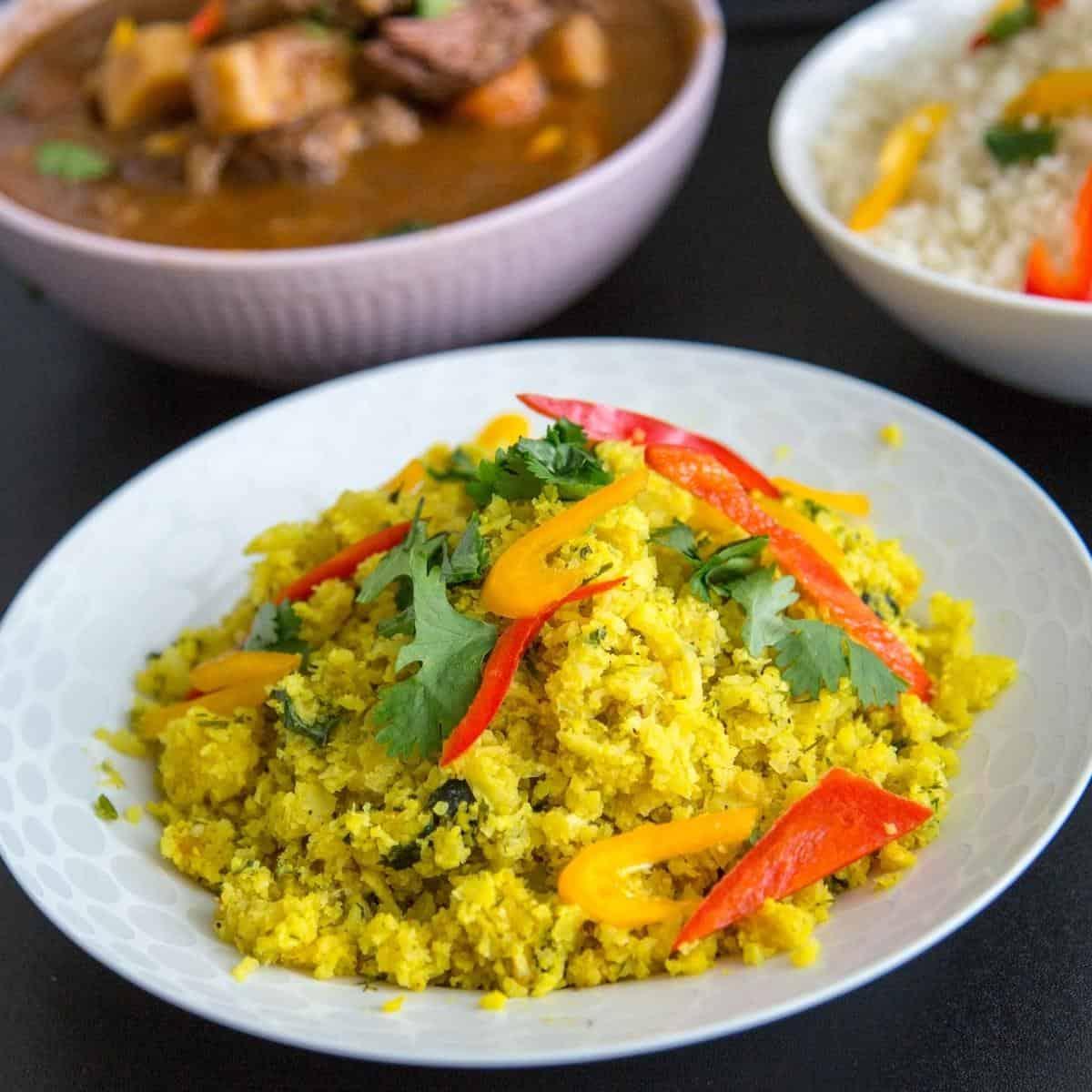 Cauliflower rice pilaf in a bowl