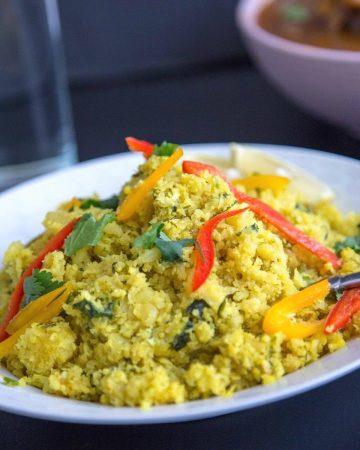 Cauliflower rice in a bowl