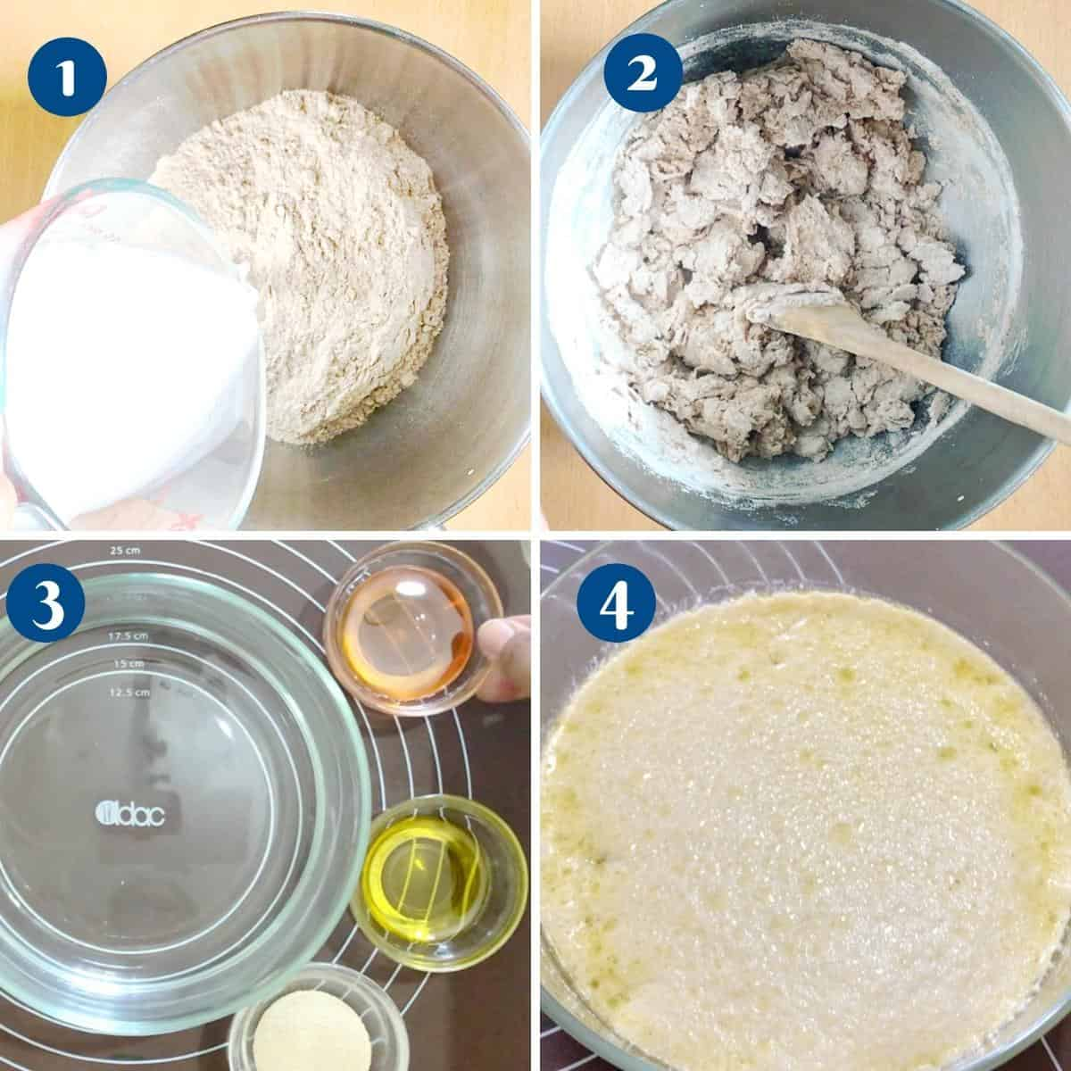Progress pictures collage making dough for sandwich bread,