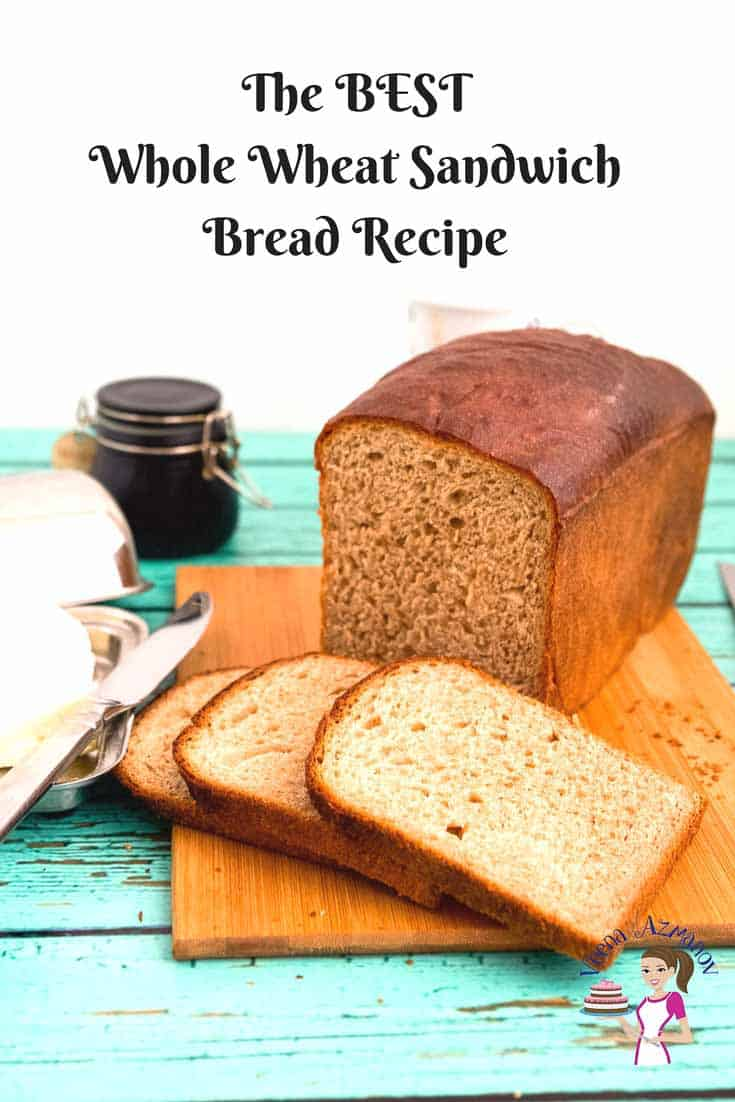 Pinterest optimized image for the best whole wheat sandwich bread recipe made with milk and honey
