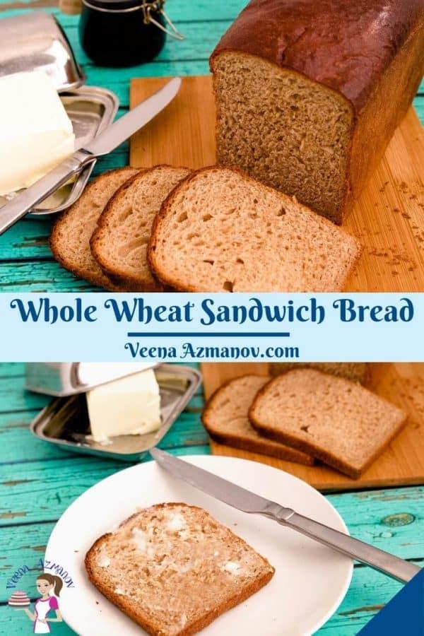 Pinterest image for whole wheat bread recipe.