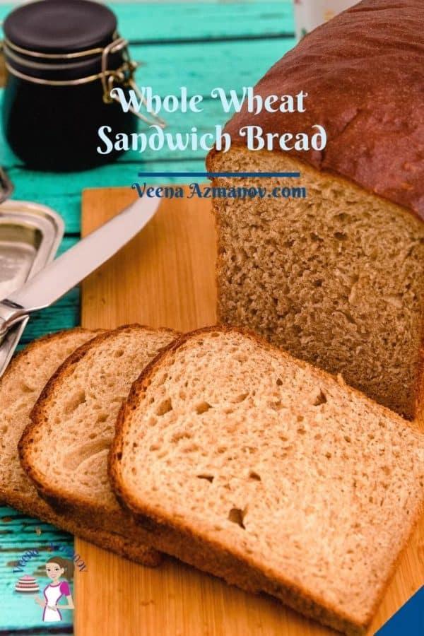 Pinterest image for whole wheat sandwich bread.