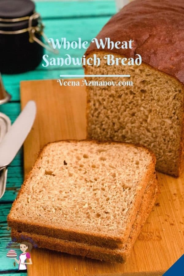 Pinterest image for sandwich bread, whole wheat.