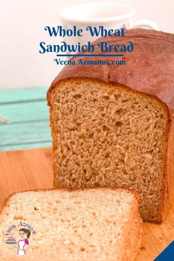 Pinterest image for sandwich bread with whole wheat.