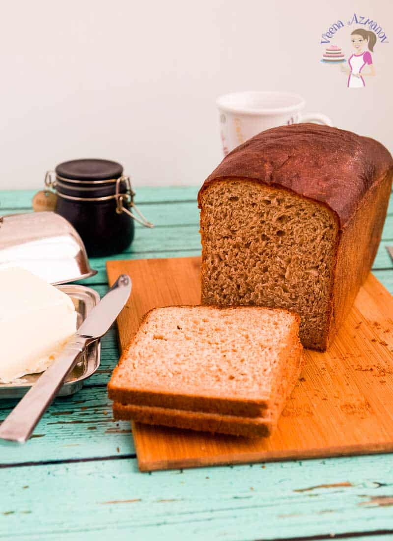 Front view of this soft tender wholesome whole wheat bread recipe made with a mix of whole wheat and all-purpose flour