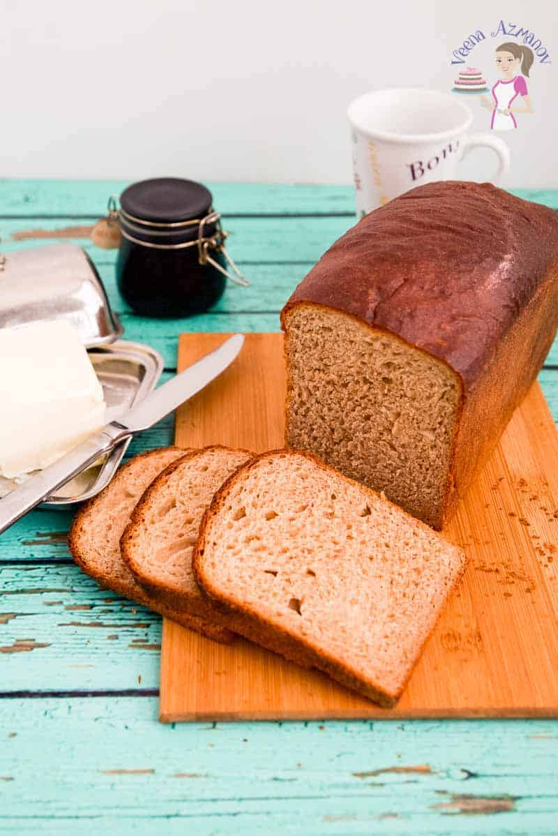 Showcasing the texture of the slices of whole wheat bread that's light fluffy and soft.