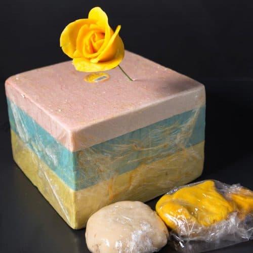A yellow sugar flower.