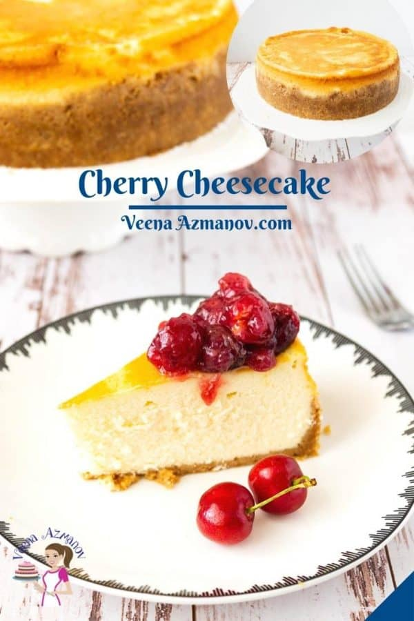 Pinterest image for cheesecake with cherries.
