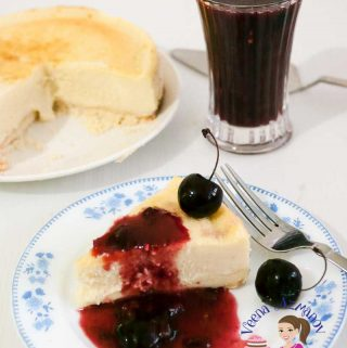 A decadent cherry cheesecake that's smooth, creamy and melts in the mouth luxurious. This simple, easy and effortless recipe for a baked classic cherry cheesecake is baked in a water bath that keeps that cream cheese filling soft and creamy. Topped with a homemade cherry topping made from scratch.