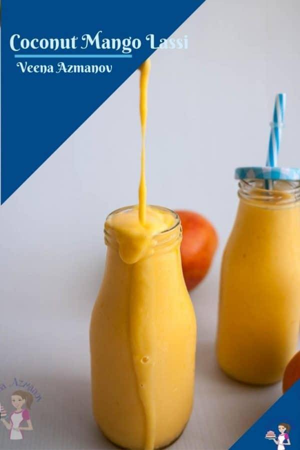 A pinterest image for mango lassi