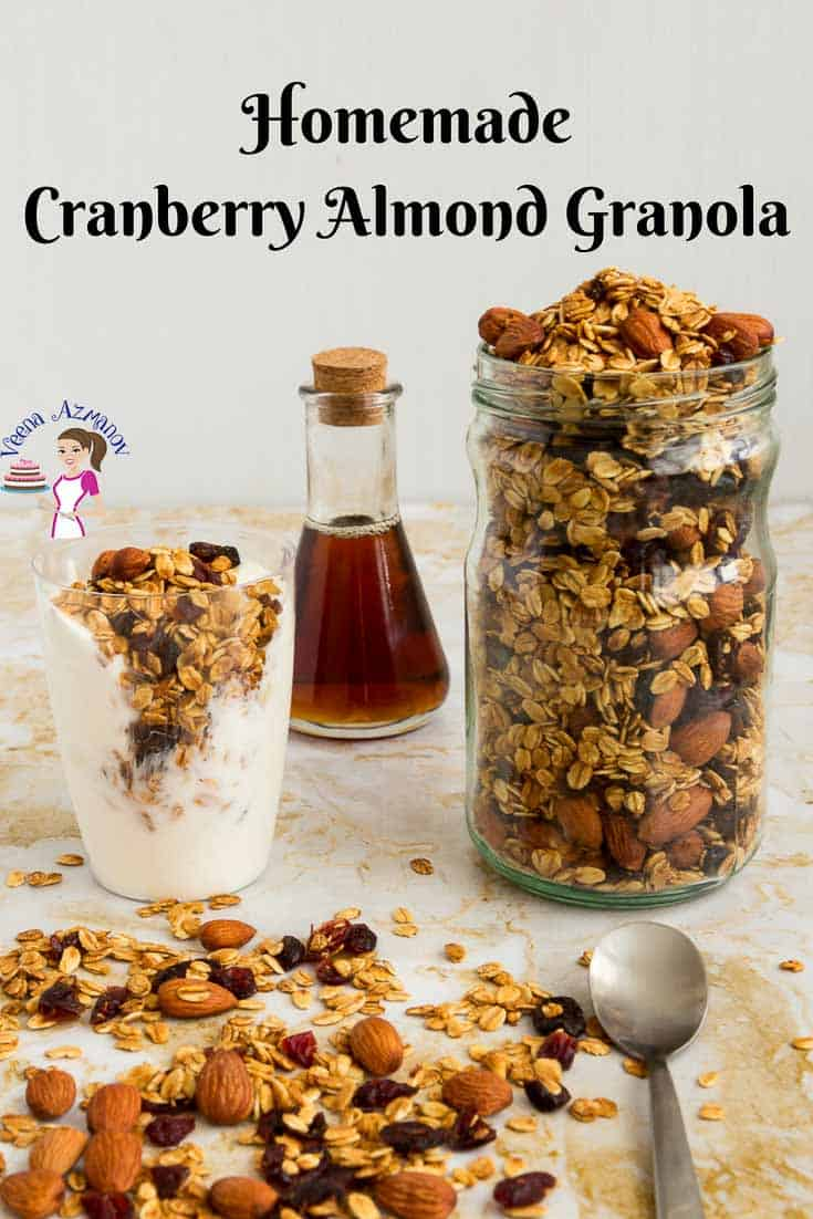 A Pinterest Optimized image for homemade Cranberry Almond Granola Recipe or Almond Cranberry Granola. Made with natural sweetness of honey and cranberry then baked until golden.