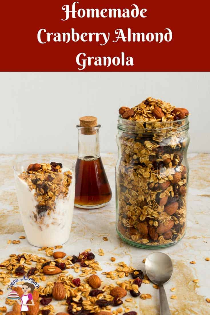 A Pinterest Optimized image for homemade Cranberry Almond Granola Recipe or Almond Cranberry Granola. Made with the natural sweetness of honey and cranberry then baked until golden.