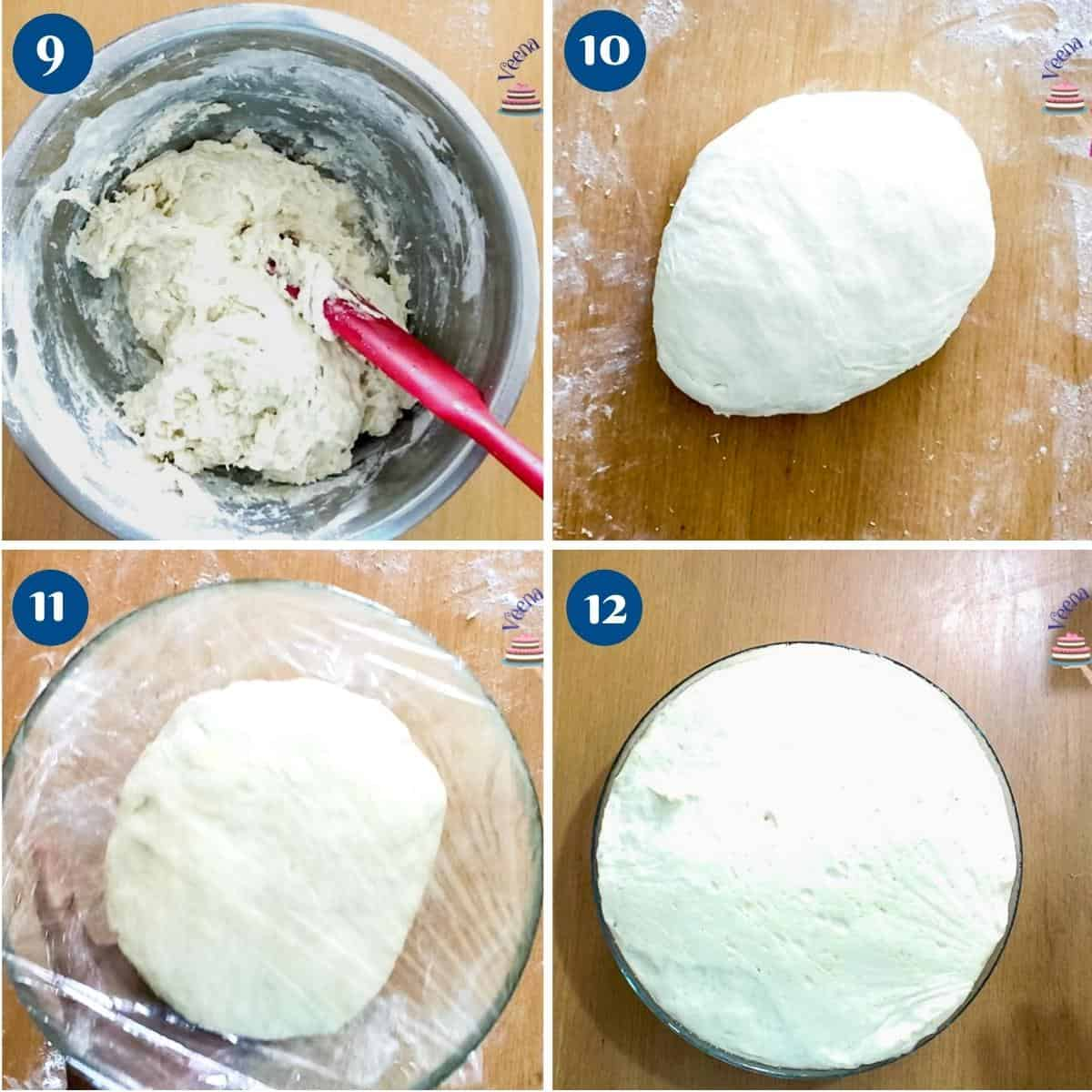 Progress pictures collage making the naan dough.
