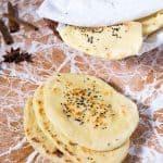 A stack of nigella and garlic naan.