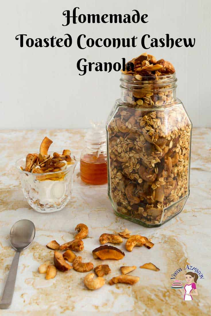 An image optimized for social media sharing for this granola recipe, toasted coconut cashew granola recipe