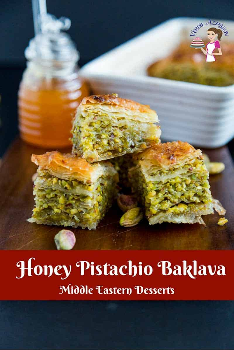 A Pinterest Optimized image for Honey Pistachio Baklava a middle eastern recipe made with filo pastry, pistachio nuts, and sugar syrup