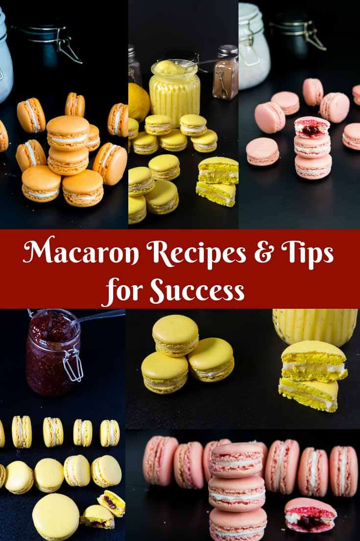 Perfect French Macaron Recipes such as Strawberry French Macarons, Lemon French Macarons, and Orange French Macarons.