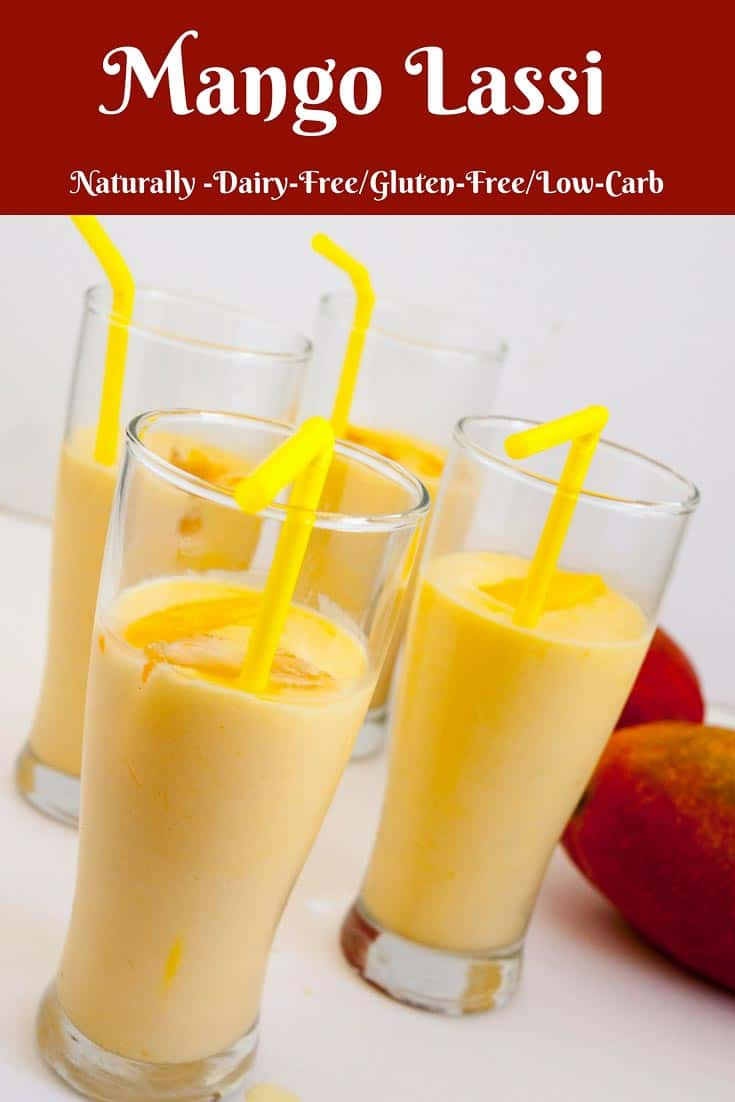 A Pinterest Optimized Image for Mango Lassi is a popular Indian classic summer drink made with mango and yogurt. Nothing is more refreshing than a light mango smoothie or mango milkshake that can be made in 5 minutes from fresh or canned mangoes and some low-fat yogurt.